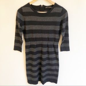 David Lawrence S Stripe Knit Bodycon Dress Wool
